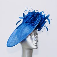 Royal Blue Mother of the Bride 3DHatinator with silk flowers 16435/SD226